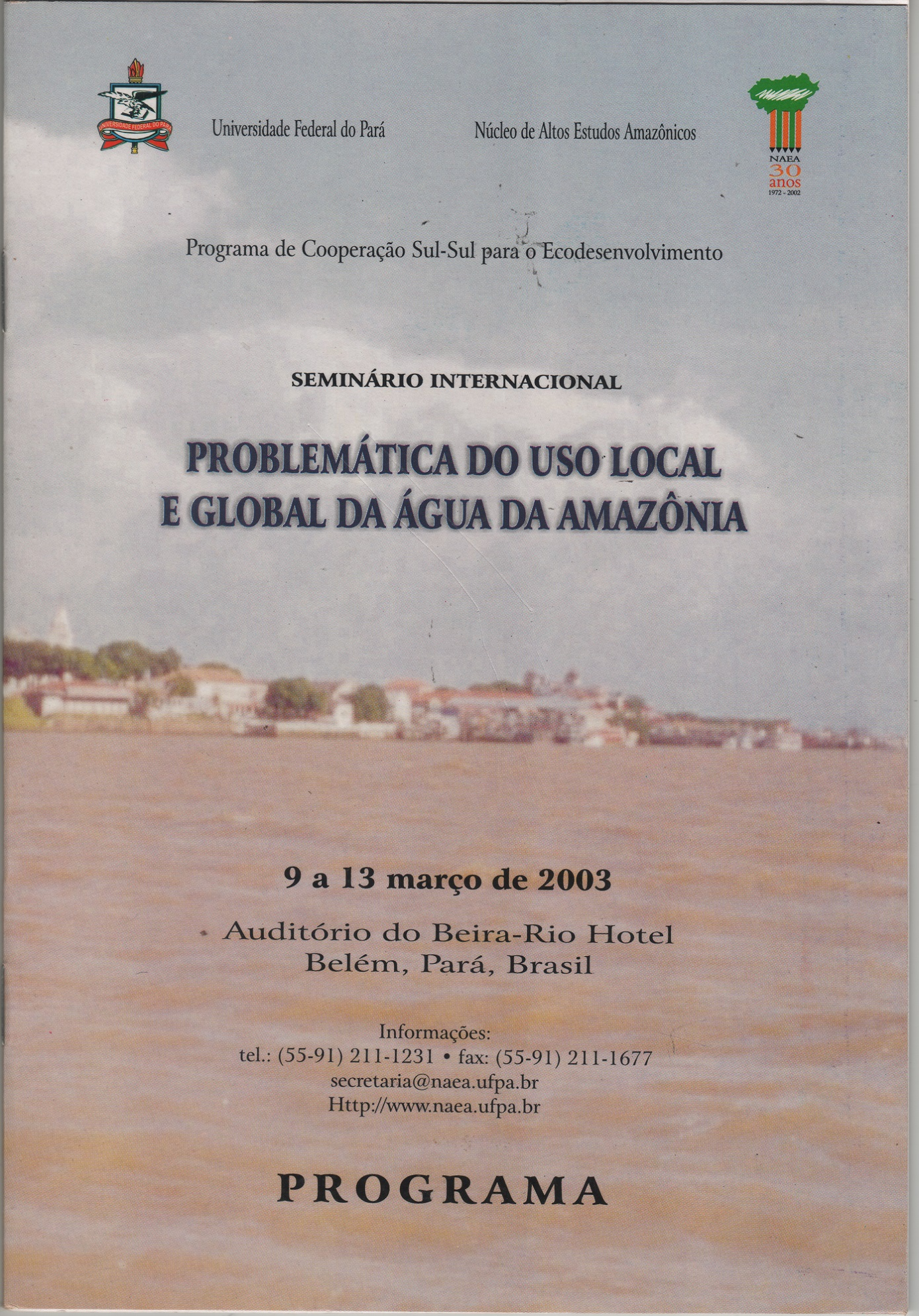 Foto Seminário Internacional Problemática do uso local e global da água da Amazônia