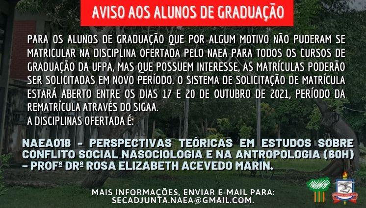 DISCIPLINA A SER OFERTADA PARA OS CURSOS DE GRADUAÇÃO PELO NAEA – PL 2021.4  (TODOS OS CURSOS)